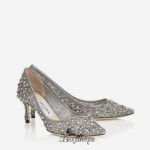 Jimmy Choo Anthracite Lace Crystal and Pearl Embellished Pointy Toe Pumps 50mm BSJC6607640