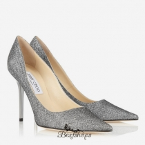 Jimmy Choo Anthracite Lamé Glitter Pointy Toe Pumps 100mm BSJC9272601