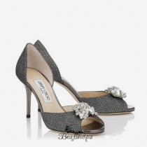Jimmy Choo Anthracite Lamé Glitter Sandals with Crystal Detail 85mm BSJC6659378