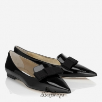 Jimmy Choo Black Patent Leather Pointy Toe Flats with Bow BSJC1880651