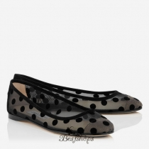 Jimmy Choo Black Polka Dot Mesh Ballet Pumps BSJC0724567