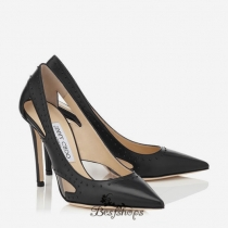 Jimmy Choo Black Shiny Leather with Painted Mini Studs Pointy Toe Pumps 100mm BSJC4200673