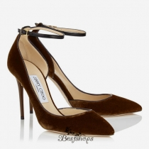 Jimmy Choo Bordeaux Velvet Pointy Toe Pumps 100mm BSJC9007952