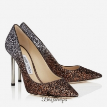 Jimmy Choo Bronze and Anthracite Dégradé Coarse Glitter Fabric Pointy Toe Pumps 100mm BSJC5854097