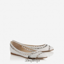 Jimmy Choo Optic White Nappa with Studded Mesh Ballet Flats BSJC0557630
