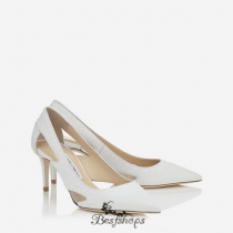 Jimmy Choo Optic White Shiny Leather with Painted Mini Studs Pointy Toe Pumps 65mm BSJC7675338