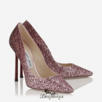 Jimmy Choo Pink and Bordeaux Dégradé Coarse Glitter Fabric Pointy Toe Pumps 110mm BSJC0699744