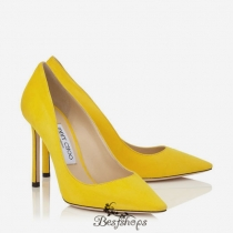Jimmy Choo Pop Yellow Suede Pointy Toe Pumps 100mm BSJC4546287