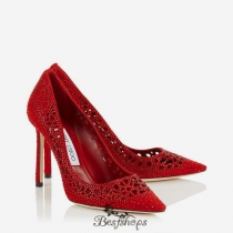 Jimmy Choo Red Perforated Suede with Crystal Hotfix Detailing Pointy Toe Pumps 100mm BSJC8082718