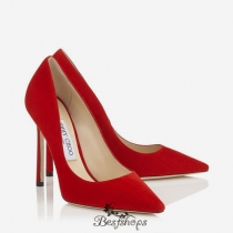 Jimmy Choo Red Suede Pointy Toe Pumps 110mm BSJC2220007