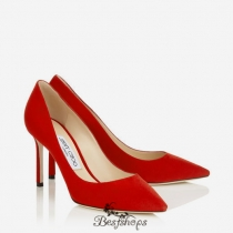Jimmy Choo Red Suede Pointy Toe Pumps 85mm BSJC6570492