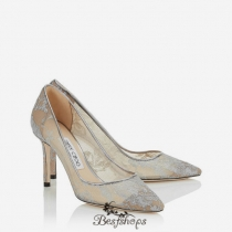 Jimmy Choo Silver Metallic Lace Pointy Toe Pumps 85mm BSJC5812607