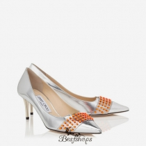 Jimmy Choo Silver Mirror Leather Pointy Toe Pumps with Neon Orange Studs 65mm BSJC2594789