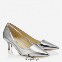 Jimmy Choo Silver Mirror Leather Pointy Toe Pumps 50mm BSJC3024008