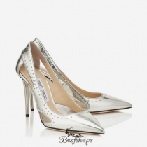 Jimmy Choo Silver Mirror Leather with Painted Mini Studs Pointy Toe Pumps 100mm BSJC0075624
