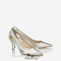 Jimmy Choo Silver Mirror Leather with Painted Mini Studs Pointy Toe Pumps 65mm BSJC7464052