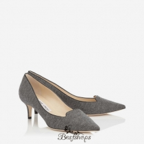 Jimmy Choo Taupe Grey Flannel and Patent Pointy Toe Pumps 50mm BSJC3054078