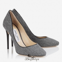 Jimmy Choo Taupe Grey Flannel and Patent Round Toe Pumps 100mm BSJC4019088