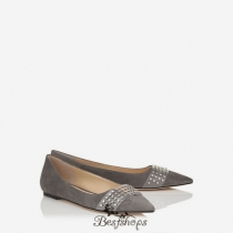 Jimmy Choo Taupe Grey Suede Pointy Toe Flats with Silver Studs BSJC2345678
