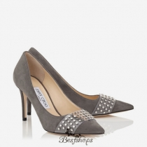 Jimmy Choo Taupe Grey Suede Pointy Toe Pumps with Silver Studs 85mm BSJC9003456
