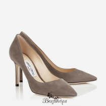 Jimmy Choo Taupe Grey Suede Pointy Toe Pumps 85mm BSJC3773665
