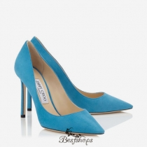 Jimmy Choo Violet Blue Suede Pointy Toe Pumps 100mm BSJC7940566