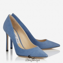 Jimmy Choo Violet Blue Suede Pointy Toe Pumps 100mm BSJC0655897