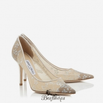 Jimmy Choo White Lace Pointy Toe Pumps 85mm BSJC9064279