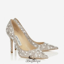 Jimmy Choo White Suede with Crystal Mix Pointy Toe Pumps 100mm BSJC6972643