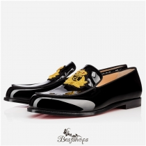 Laperouza Flat Black Gold Patent Leather BSCL822778