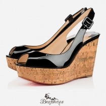 Une Plume Sling 100mm Black Patent Leather BSCL337741