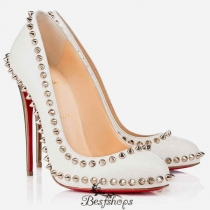 100MM Studded Leather White Pumps BSCL487210