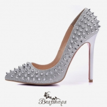 Pigalle Follies Rivets Silver 120MM Pumps BSCL85833