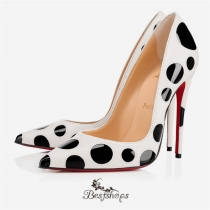 Christian Louboutin So Kate Bubble 120 Latte/Black Leather Women Shoes