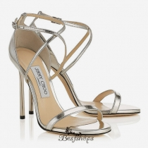 Jimmy Choo Silver Mirror Leather Sandals 110mm BSJC7454628