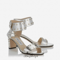 Jimmy Choo Silver Mirror Leather Sandals with Gold Studs 65mm BSJC7422274
