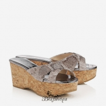 Jimmy Choo Snake Print Leather Cork Wedges 50mm BSJC7699924