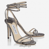 Jimmy Choo Steel Metallic Pixelated Leather Sandals 120mm BSJC7455728