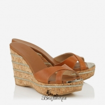 Jimmy Choo Tan Vacchetta Leather Cork Wedges with Glitter Stripes on Wedge 70mm BSJC7463648