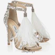 Jimmy Choo White Suede and Hot Fix Crystal Embellished Sandals with an Ostrich Feather Tassel 110mm BSJC7419854