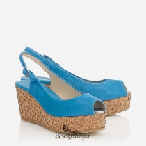 Jimmy Choo Robot Blue Suede with Lasered Cork Covered Wedges 50mm BSJC6911628