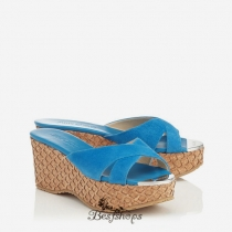 Jimmy Choo Robot Blue Suede with Lasered Cork Covered Wedges 50mm BSJC7371628