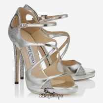 Jimmy Choo Silver Glitter Fabric and Mirror Leather Platform Sandals 120mm BSJC0718474