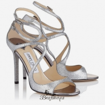 Jimmy Choo Silver and Fine Glitter Mirror Leather Sandals 120mm BSJC7413414