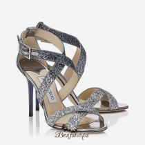 Jimmy Choo Silver and Navy Coarse Glitter Degrade Sandals 120mm BSJC7436224
