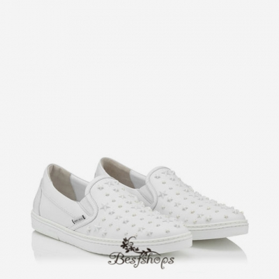 Jimmy Choo Ultra White Sport Calf with Mixed Stars Slip On Trainers BSJC9874119