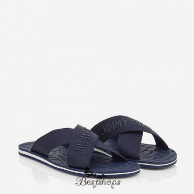 Jimmy Choo Uniform Blue Grosgrain and Rubber Sandals BSJC9015228