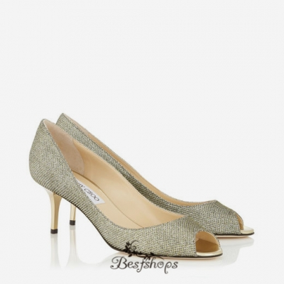 Jimmy Choo Light Bronze Lamé Glitter Peep Toe Pumps 50mm BSJC7422728
