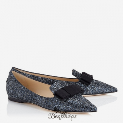 Jimmy Choo Navy Crackly Glitter Fabric Pointy Toe Flats with Bow Detail BSJC7469914