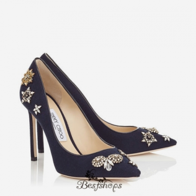 Jimmy Choo Navy Flannel and Patent Pointy Toe Pumps with Embellished Badges 100mm BSJC7369028